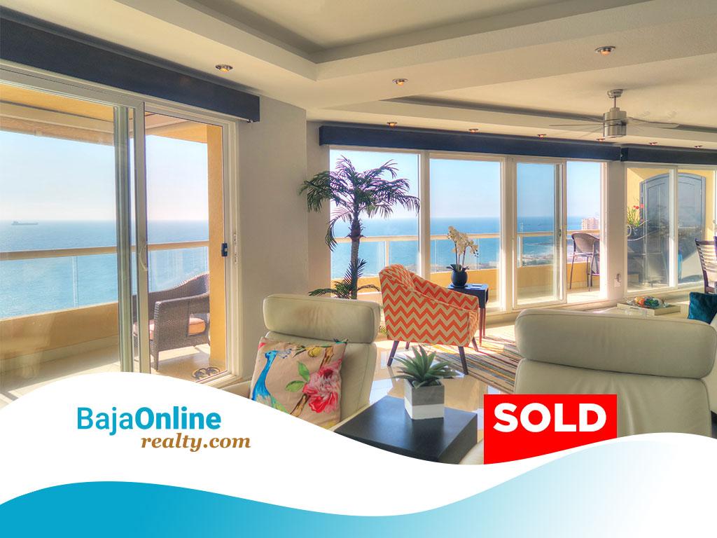 SOLD – Oceanfront Condo For Sale in Tower Perla, La Jolla Real, Rosarito Beach – USD $437,500